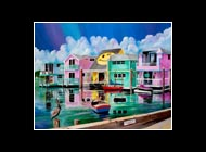 Houseboat Row Matted Print